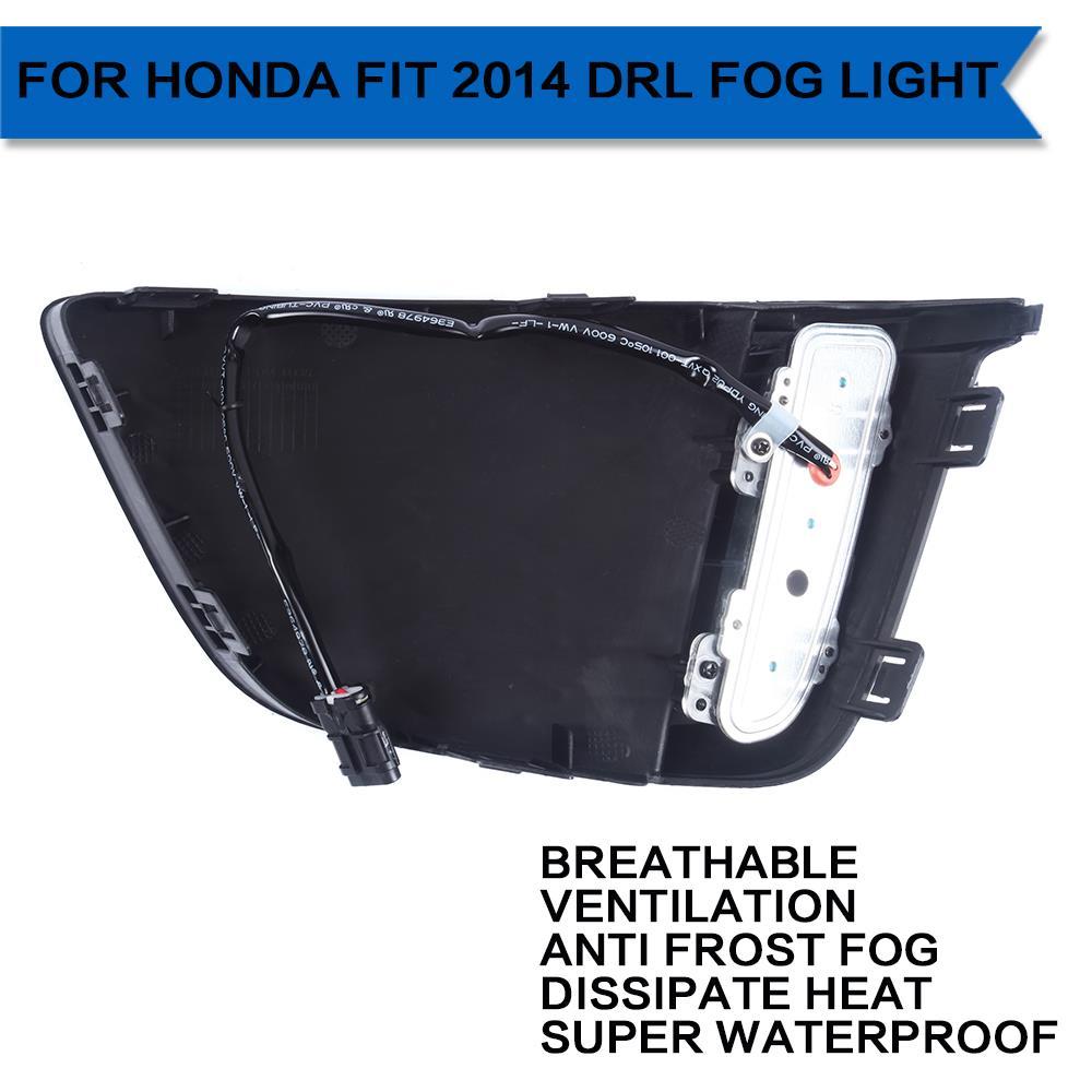 Один комплект из светодиодов автомобилей DRL дневного света передняя противотуманная фара для Honda FIT 2014 супер-яркий бесплатная доставка D10