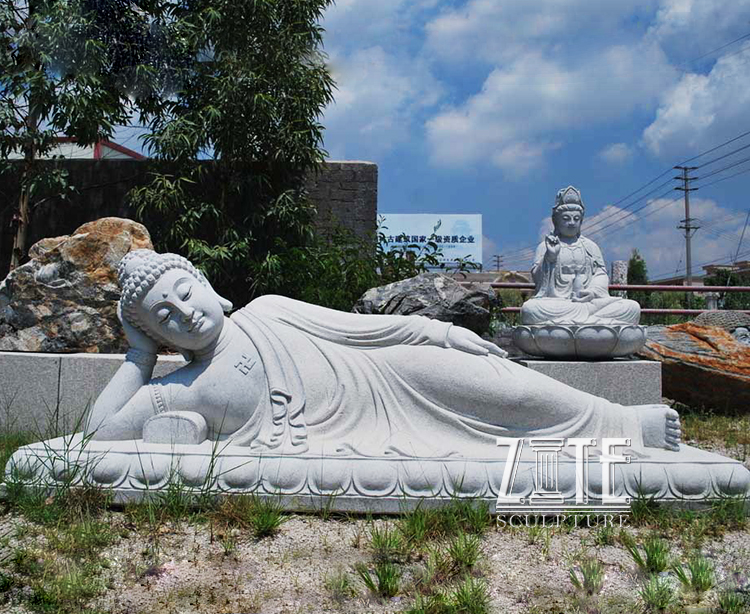 Hand Carved White Large Marble sleeping buddha statue
