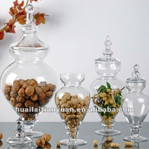 Huailai Tianyuan borosilicate lead free large hand blown clear glass jar with lid for nuts cookie and candy