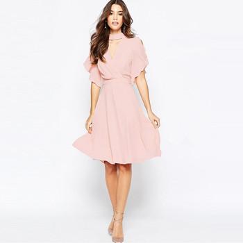 4758e085e6e7e Zh0343e Hot Sale Summer Women Off Shoulder Pink Chiffon Dress V Neck A Line  Dress - Buy Summer Women Chiffon Dress,Sexy V Neck A Line Dress,High ...