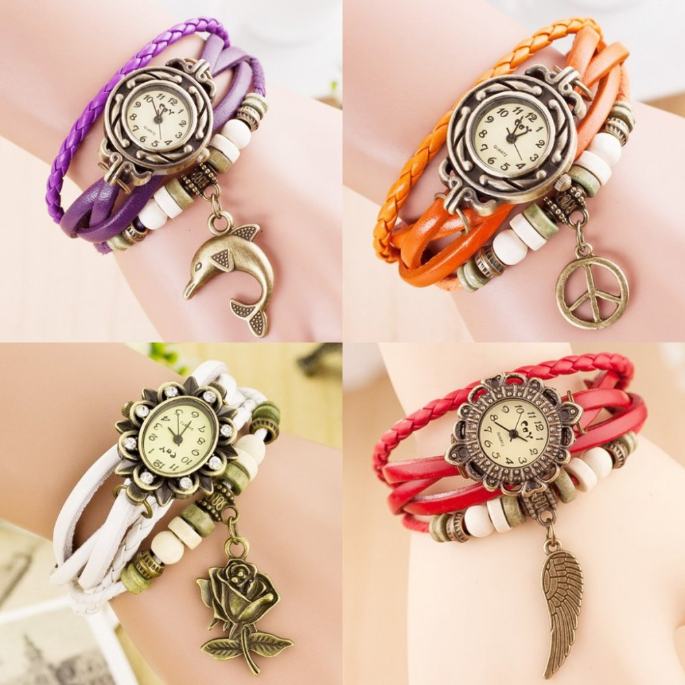 New Design Small MOQ Braided Strap Watches Ladies Leather Watch