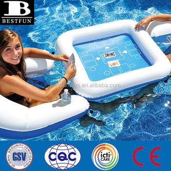 Heavy Duty Vinyl Inflatable Floating Pool Poker Table Durable Plastic Pool Float Playing Cards Table And Chairs Set Buy Inflatable Floating Pool