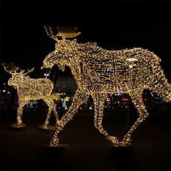 Led Holiday Decorative Outdoor Motif Lighted Christmas Deer Sleigh With Rope Lights Decoration Reindeer Indoor