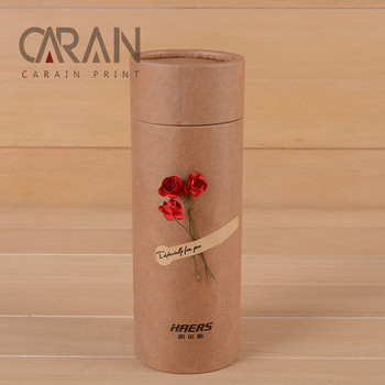 500ml Bottle Package Brown Kraft Tube Cylinder Box with Custom Logo printing