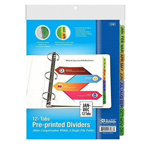 6 Pk, BAZIC 3-Ring Binder Dividers W/ 12-Preprinted Jan-Dec Tab