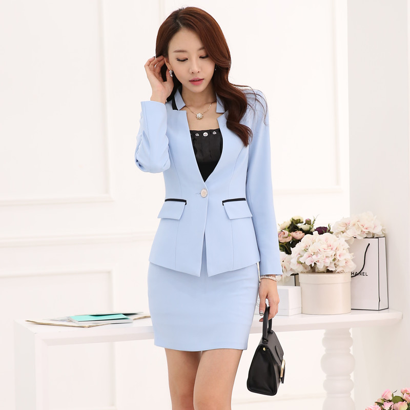 dd669bc9065d New Style 2018 Ladies Sky Blue Blazer Women Business Suits with Skirt and Jacket  Sets Summer Office Uniform Designs
