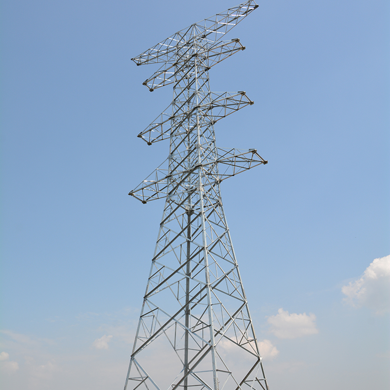 High voltage power transmission line galvanized single pole tower of power