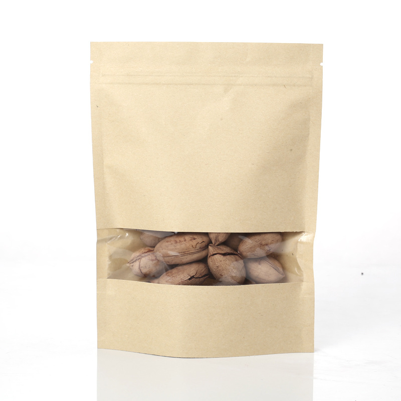 Stock kraft paper bag with clear window