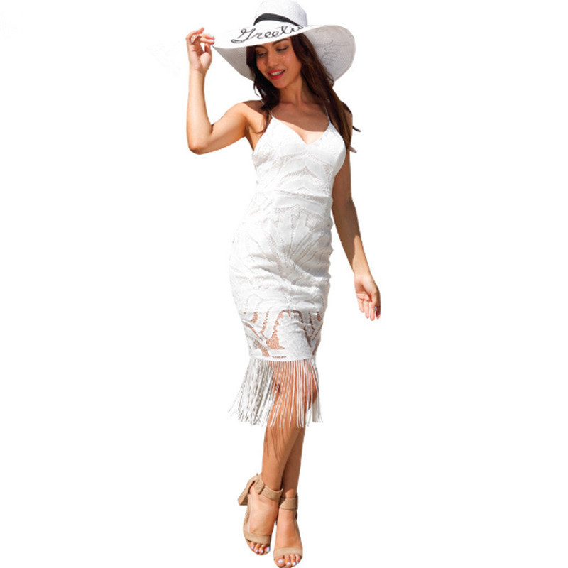 China Manufacturer <strong>Women</strong> <strong>Clothing</strong> Fitted Sleeveless White <strong>Lace</strong> Tassel Dress