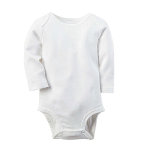 Wholesale 100% cotton baby clothes newborn romper long sleeves plain blank baby bodysuit