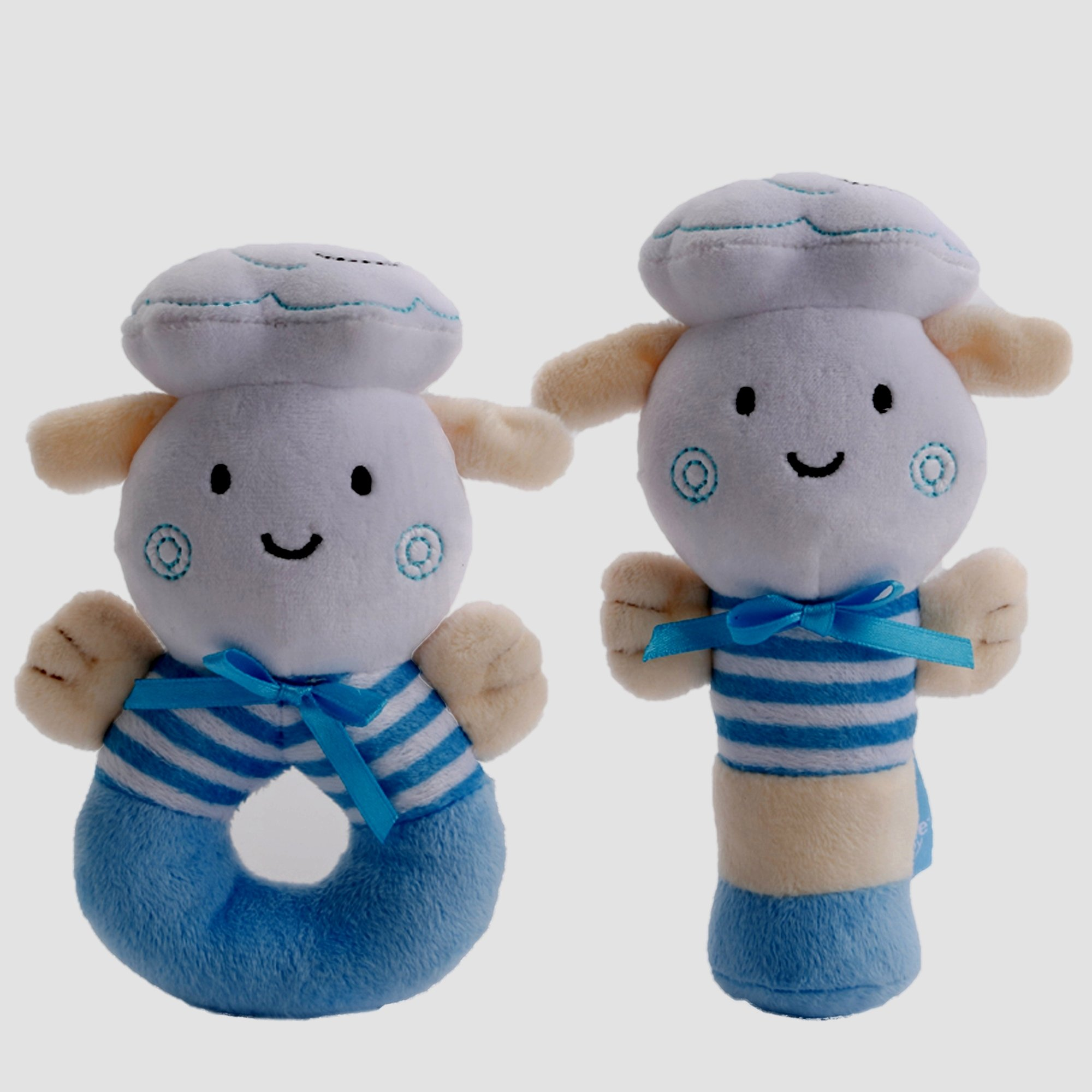Premium Quality-Soft Baby Rattle- Plush- Sensory-Activity Toy Blue-Baby Shower Gifts, a cute Baby Boy Gifts-Baby Boy Toys