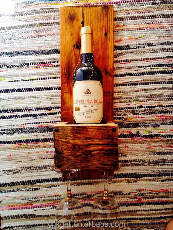 Can hang on the wall, wooden wine box below can hang two cups, is very good wall decorates.