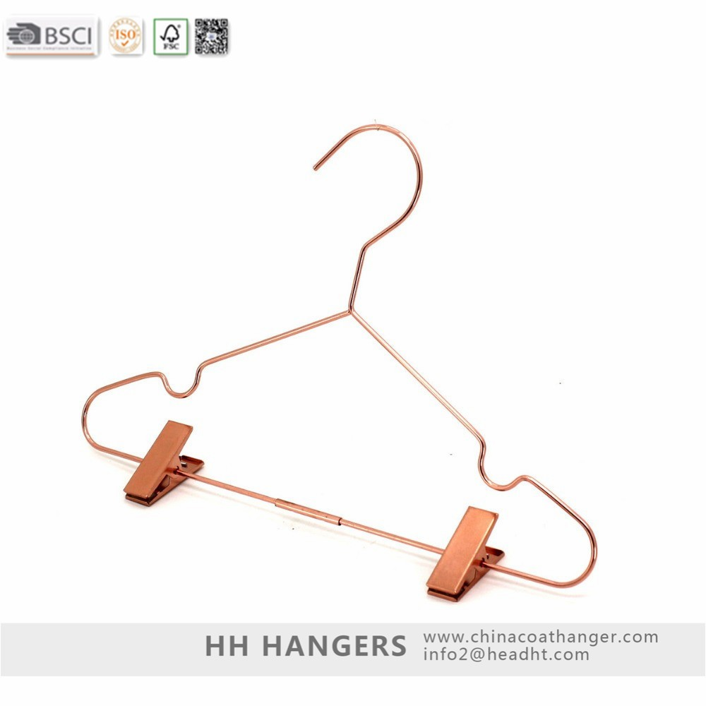 HH style rose gold copper wire metal pants trousers clothes hangers with  clips