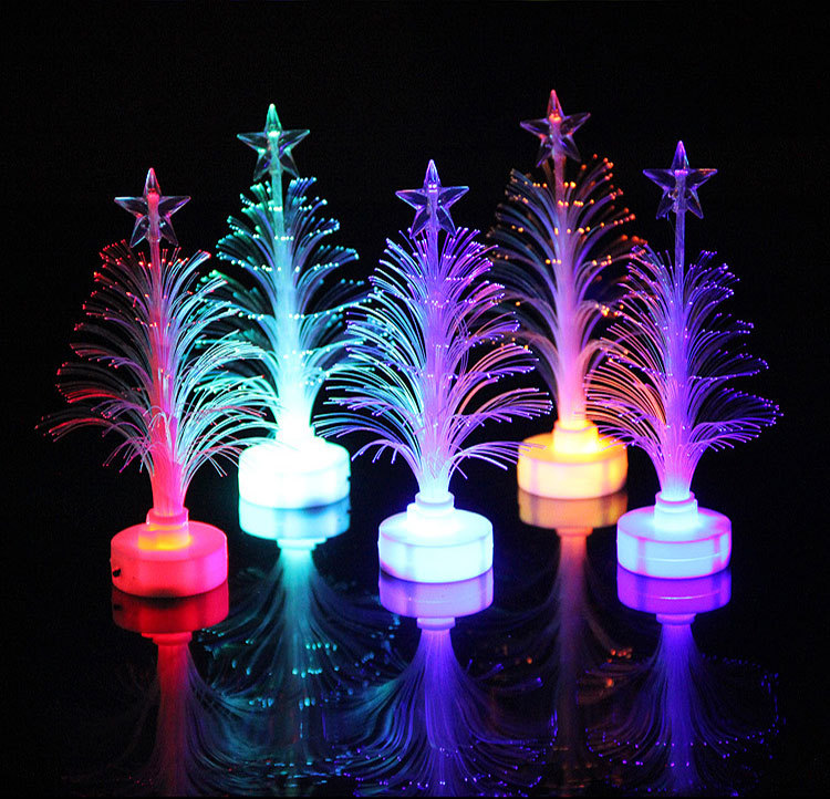 Luxury Shining Colorful Optical Fiber Artificial Plastic LED Mini Christmas Tree for Child