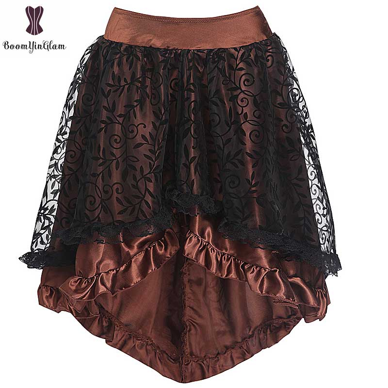 Skirts Women Plus Size Satin Fabric Lace Overlay Gothic Floral Skirt For Punk Corset