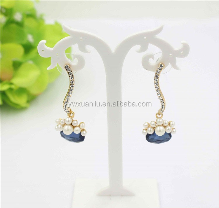2015 fashion helix long crystal earring jewelry design, zircon pearl drop earring crystal earring