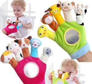 baby educational plush toy animal finger puppet gloves for baby with mirror