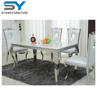 New modern designs dining set long glass dining table and chair CT031