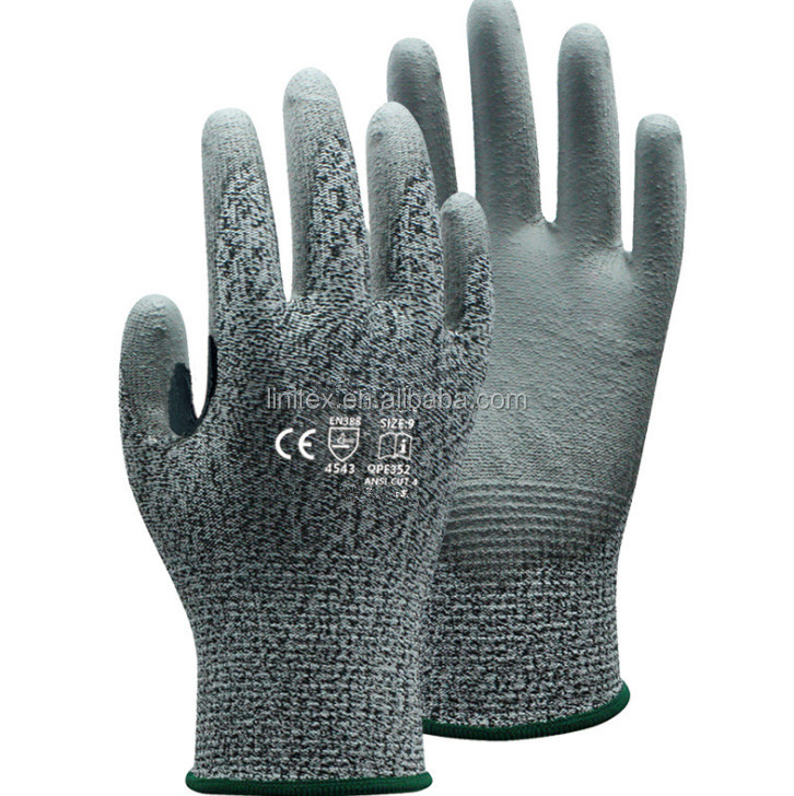 polyester HPPE palm coated seamless cut resistance rubber antiskid abrasion resistant labor protection puncture proof gloves