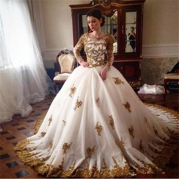 Fa16 2017 Luxe Gold Kant Applicaties Lange Mouwen Moslim Trouwjurken Prinses Baljurken Arabisch Vintage Trouwjurk Buy Witte Arabische Lange Moslim
