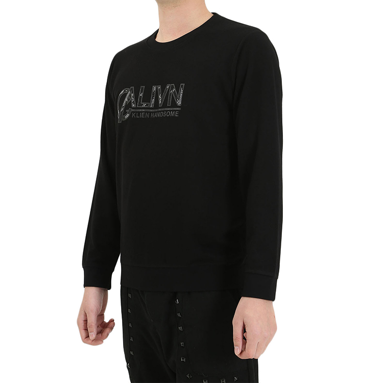 Custom Logo Printed Lightweight Black Color Slim Fit Crewneck Pullover knitted Jumpers Sweater for men