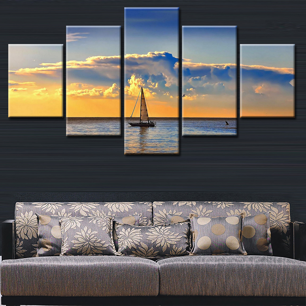 framed 5 panels group canvas wall art home decor modern printed canvas painting