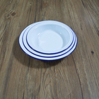 Vintage Metal Enamel Dinnerware Pie Dish Food Plate With Roll Rim