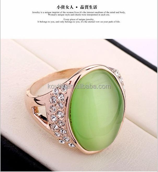 beautiful jewelry big green opal stone and crystal gold opal