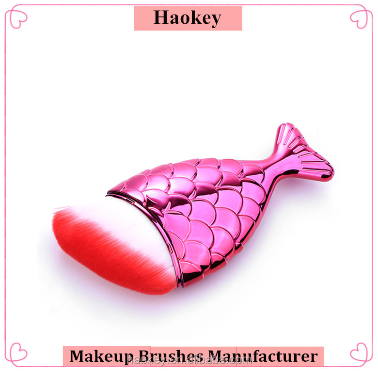 Rose color fish tail shaped foundation brush 4 styles bristles single makeup brush synthetic hair