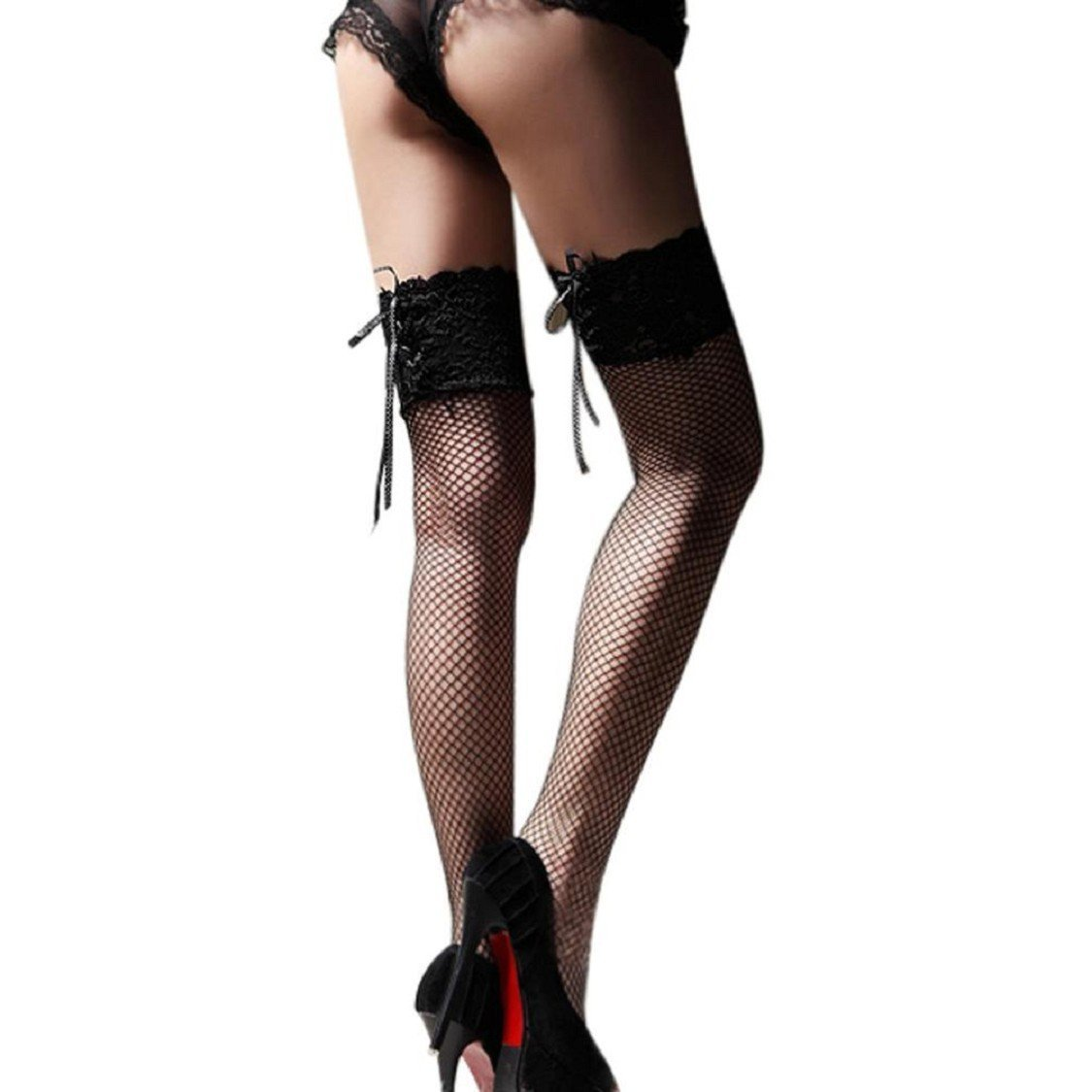 c22d4ad4f2fcf6 Get Quotations · MAIDIEN Hollow Out Mesh Sexy Sheer Silk Stocking Long Socks  Women Girls Thigh High Over The