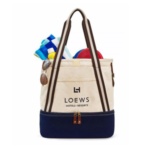 377843414a53 Canvas beach duffel bag large beach tote bags with bottom cooler compartment