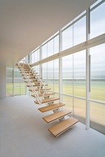 glass railing wood steps single stringer modern grand stairway