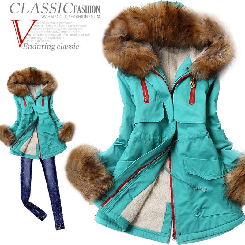 73b180a27098f Winter 2013 women s slim with a hood large fur collar wadded jacket plus  size parka women ...