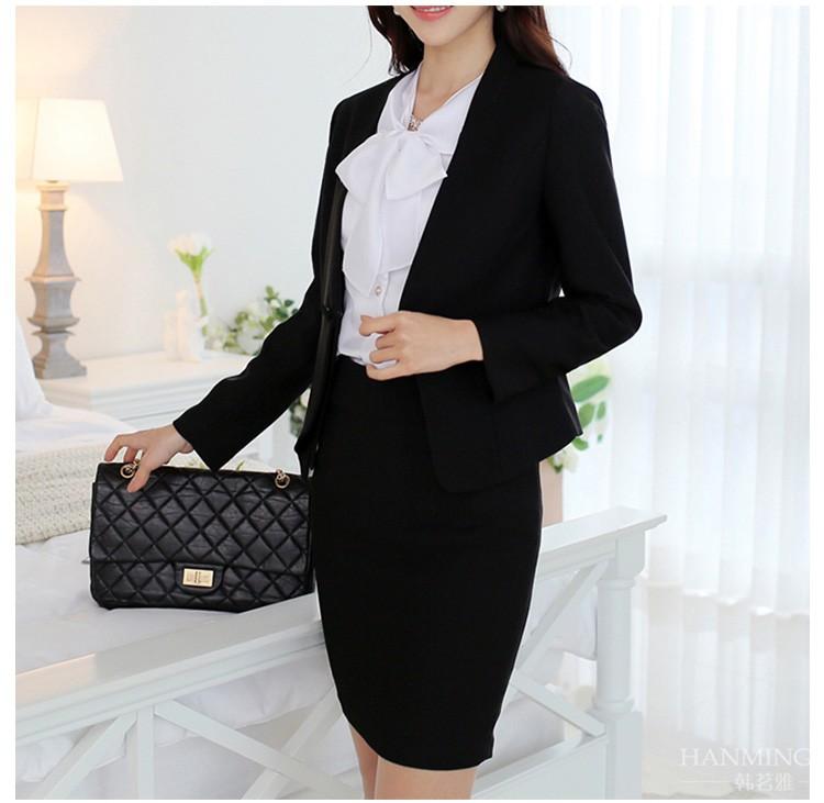 a517e17bb Chaqueta Para Mujer Formal Slim Negro Falda De Las Señoras Trajes De ...