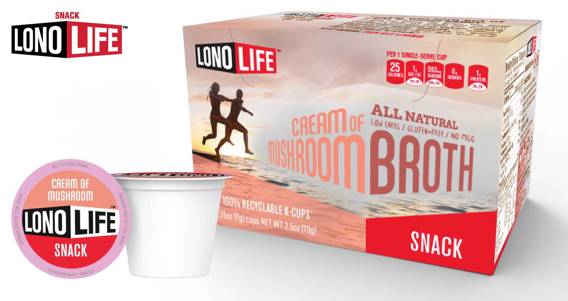 Lonolife Cream of Mushroom Broth Snack, Single Serve Cups, 10 Count