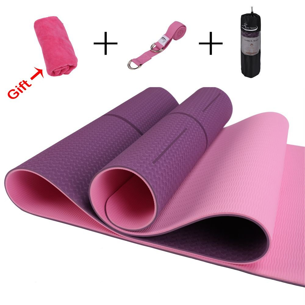 Hot Yoga Mat Set by Low Sport - 100% TPE Yoga Mat, Strap & Carrying Bag + Free Bonus Yoga Hand Towel. Non Slip, Eco-Friendly,Super Elastic,Yoga Mats For Women & Men, Alignment Line-Blue,Pink,Turquoise