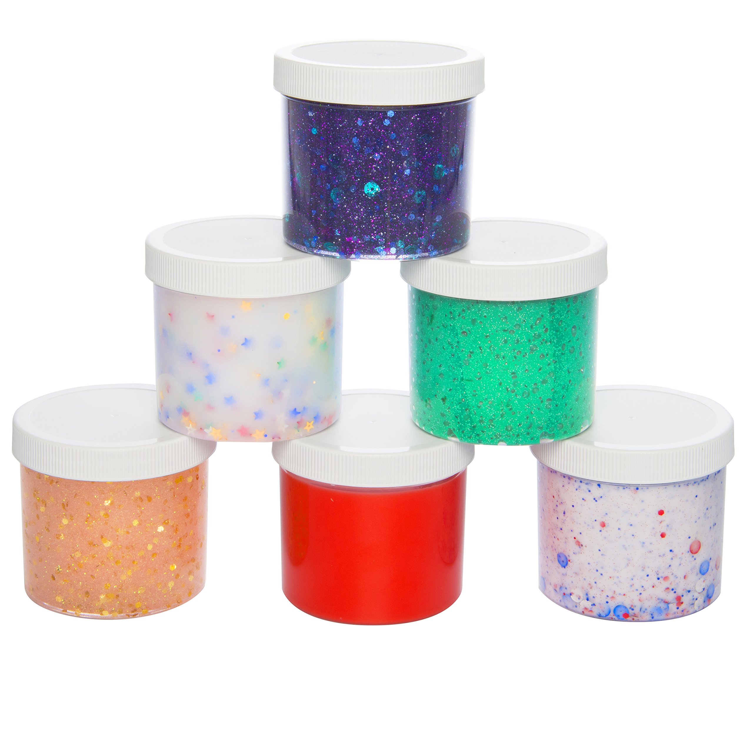 Slime Storage Jars 12oz (6 Pack) - Maddie Rae's Clear Containers For All Your Glue Putty Making