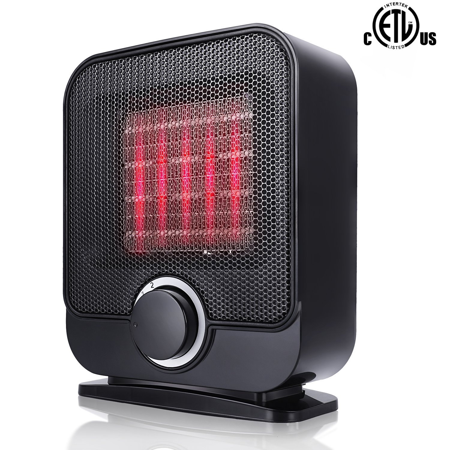 Ceramic Space Heater, Portable Personal Electric Heater, Indoor Small Desk Heater with 3 Setting, Over-Heat and Tip-Over Protection,1500W Mini PTC Heater ETL Safety for Office Desk Floor Room