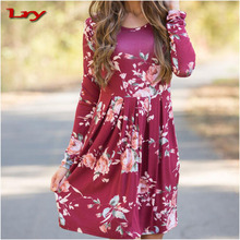 In Autumn Multicolored Round Neck Fower Girl Dress Large Size New Fashion Style Women Sexy Dress Beauty Body Clothes