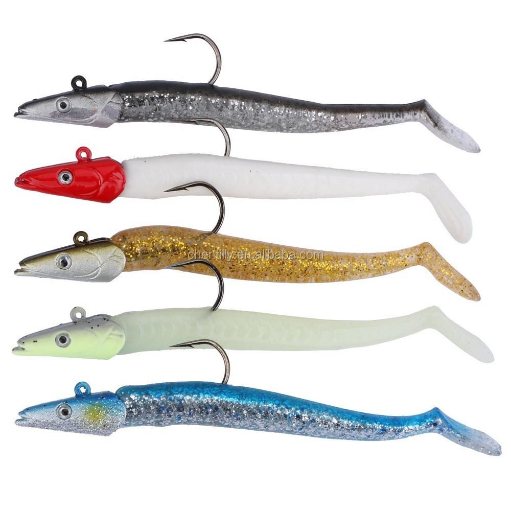 Soft Jighead Sea Fishing Lures 5pcs Cod Bass Pollock  bait Sandeel 11 cm x 22 gr