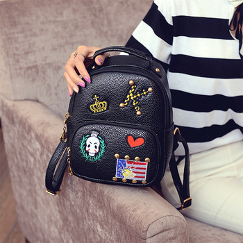 acc7466fef43 Stylish vintage unique teen girl black backpacks schoolbag for high school  girls