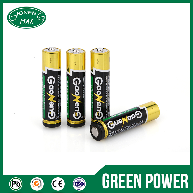 Eco-Frindly Portable LR03 1.5v AAA Excel Alkaline Battery