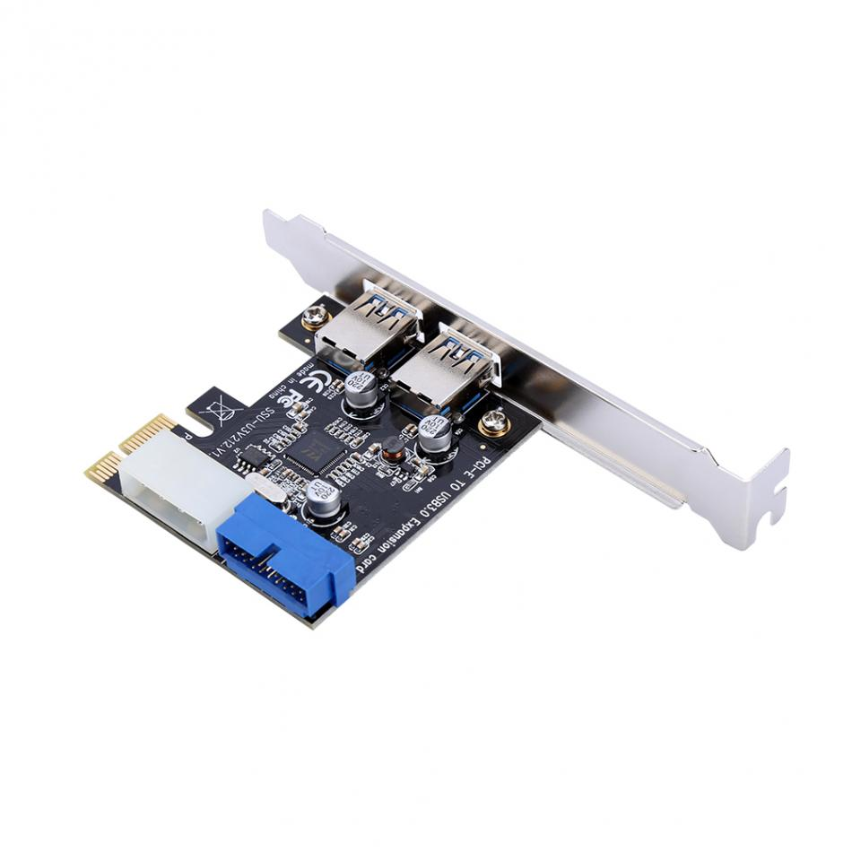 New USB 3.0 PCI-E Expansion Card Adapter External 2 Port USB3.0 Hub Internal 19pin Header PCI-E Card 4pin IDE Power Connector