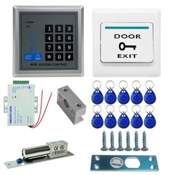 Mjpt020 Rfid Access Control System Kits + Bolt Lock + 10 Buckle Card +  Power Supply + Exit Button + Screws Kit - Buy Access Control Kit,Door  Access