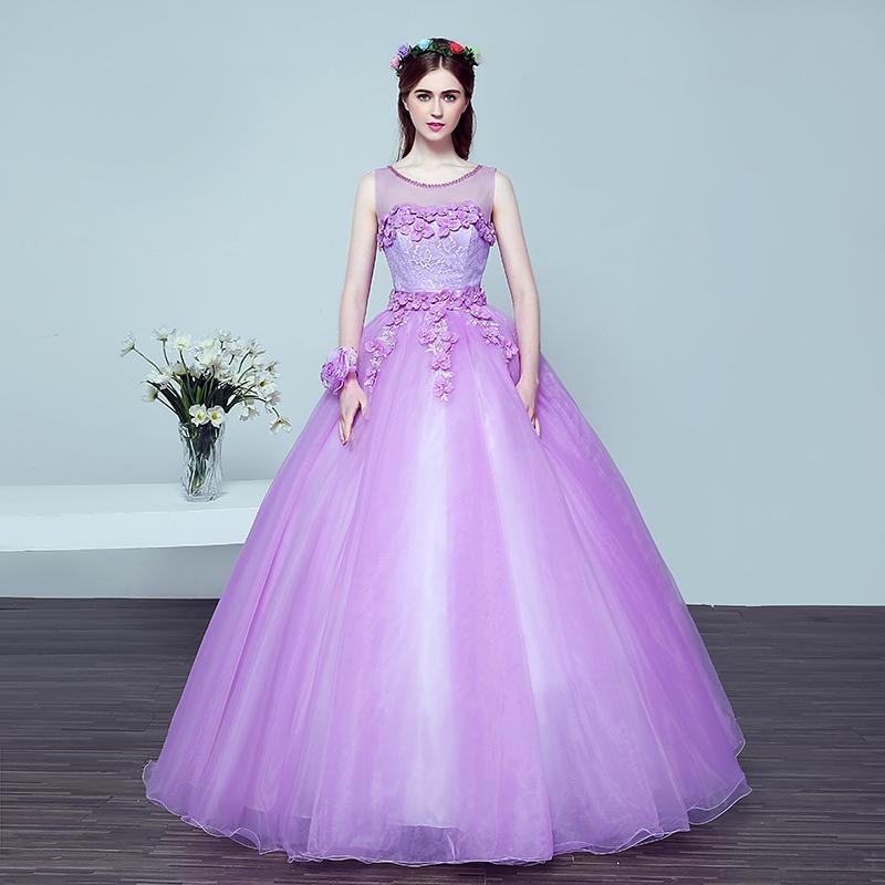 Venta al por mayor vestido morado organza-Compre online los mejores ...