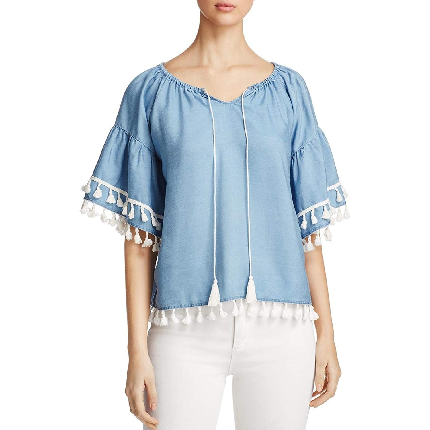 a123c5e383 Get Quotations · Bagatelle Womens Chambray Peasant Tunic Top