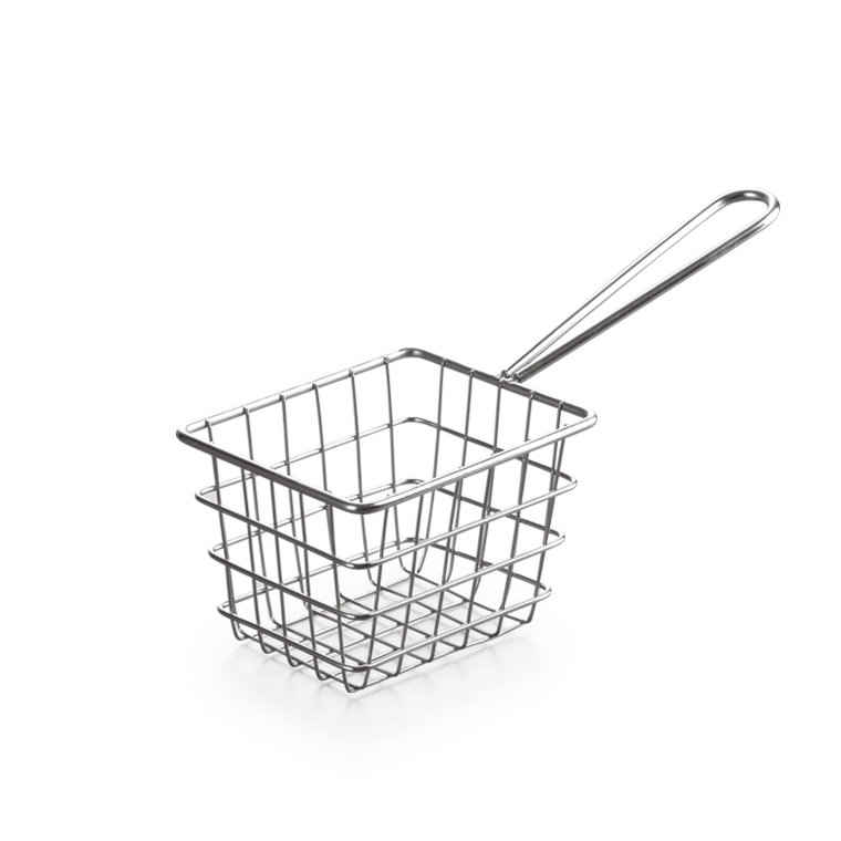 Food Table Serving Fried chicken frying basket With handle Square commercial iron wire frying basket