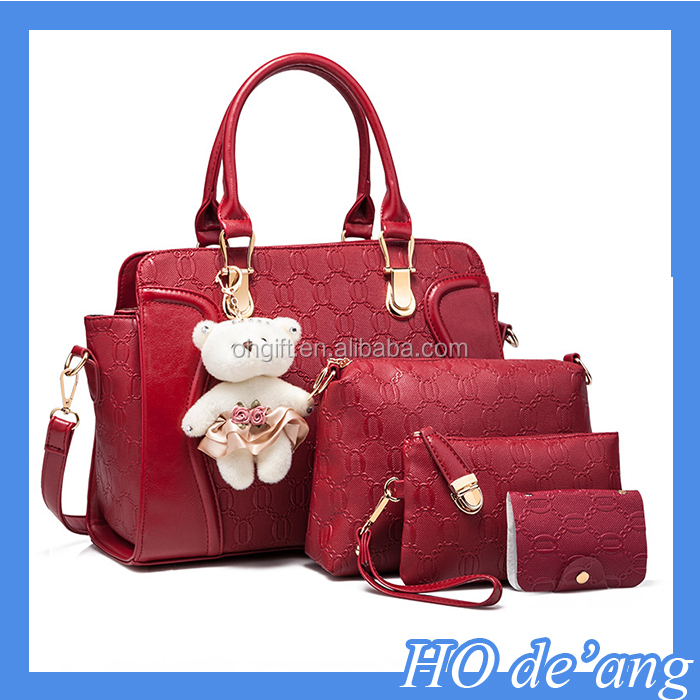 Women Handbag Set 4 Pieces Bag PU Leather Tote Small Shoulder Bag