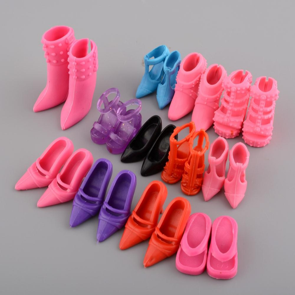 Mix 24pcs 12Pairs Shoes Boots For Decor Doll Toy Girls Dolls Accessories Play House Party Xmas