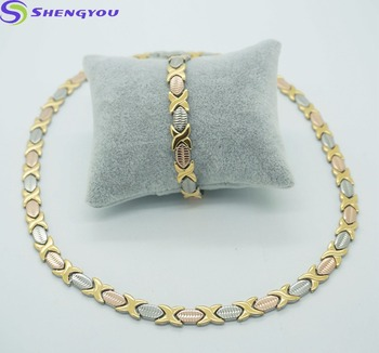 Hot Sale Three Tones Gold Plated Stainless Steel Jewelry Necklace Set For Women